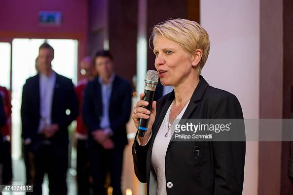 Team manager Doris Fitschen speaks during a meet and greet sponsors barbecue at the Germany women's training camp on May 21 2015 in Wollerau...