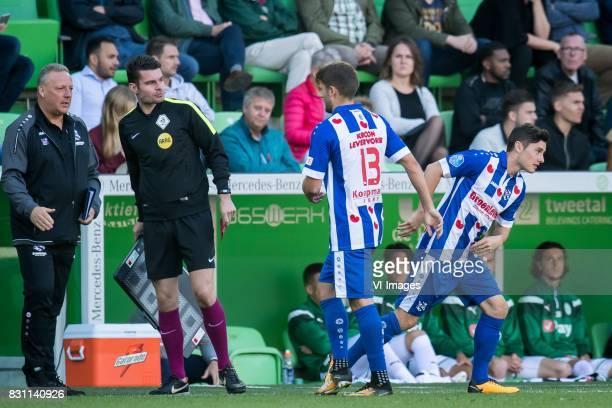 team manager Herman van Dijk Erwin Blank Arber Zeneli of sc Heerenveen Marco Rojas of sc Heerenveen during the Dutch Eredivisie match between FC...