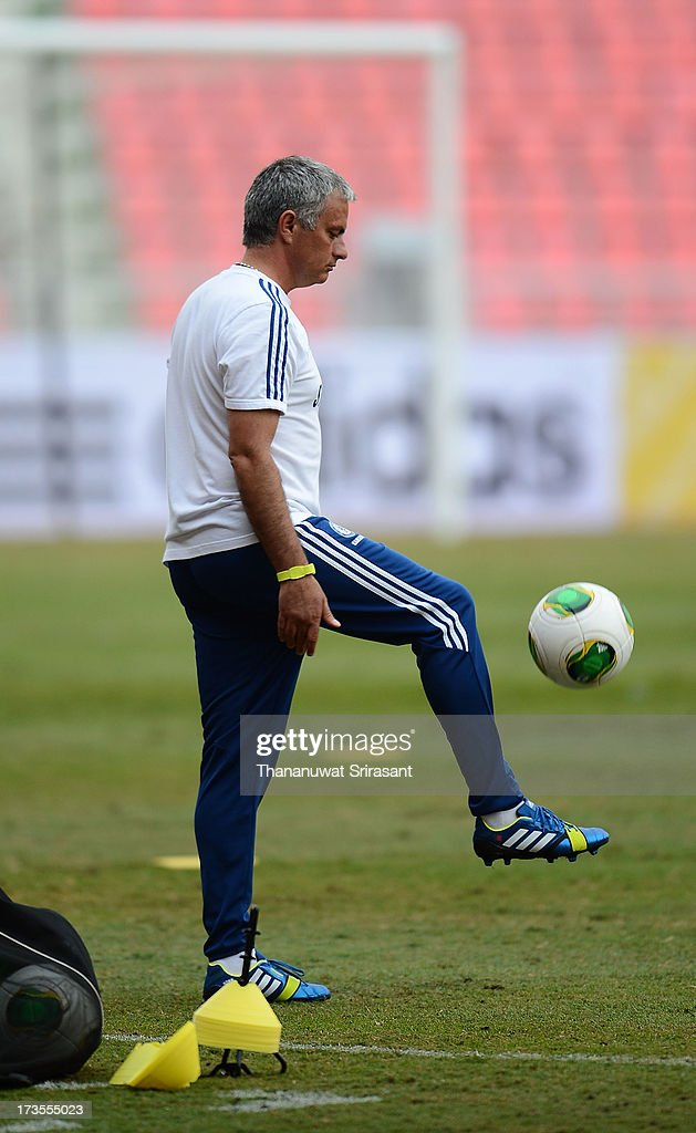 Team Manager Jose Mourinho during a Chelsea FC training session at Rajamangala Stadium on July 16, 2013 in Bangkok, Thailand.