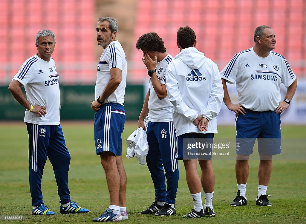 Team Manager Jose Mourinho (L) during a Chelsea FC training session at Rajamangala Stadium on July 16, 2013 in Bangkok, Thailand.