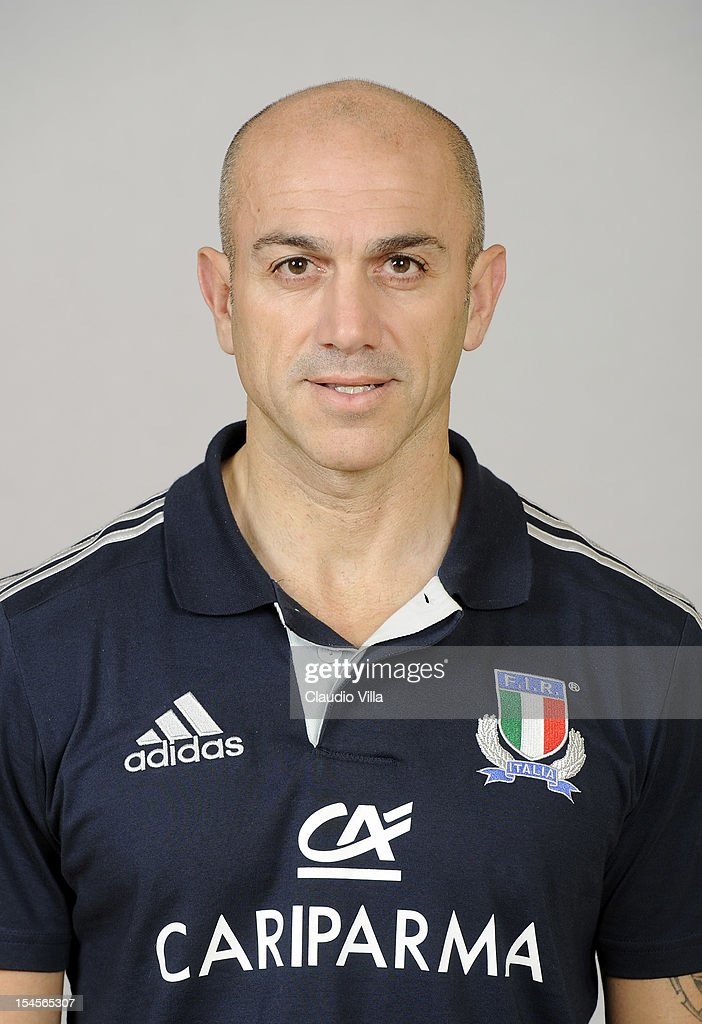 Team manager Luigi Troiani poses during a Italy Rugby Union player portrait session on October 22, 2012 in Rome, Italy.