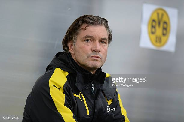 Team Manager Michael Zorc of Dortmund looks on during the friendly match between AFC Sunderland v Borussia Dortmund at Cashpoint Arena on August 5...
