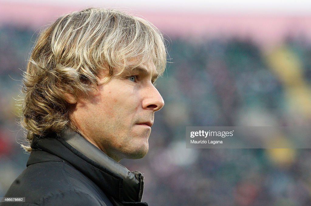 Team Manager of Juventus <a gi-track='captionPersonalityLinkClicked' href=/galleries/search?phrase=Pavel+Nedved&family=editorial&specificpeople=211256 ng-click='$event.stopPropagation()'>Pavel Nedved</a> during the Serie A match between US Citta di Palermo and Juventus FC at Stadio Renzo Barbera on March 14, 2015 in Palermo, Italy.