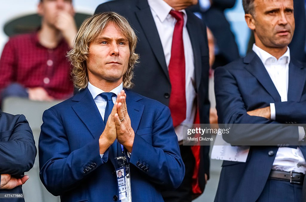 Team manager of Juventus Turin <a gi-track='captionPersonalityLinkClicked' href=/galleries/search?phrase=Pavel+Nedved&family=editorial&specificpeople=211256 ng-click='$event.stopPropagation()'>Pavel Nedved</a> attends UEFA U21 European Championship Group A match between Czech Republic and Denmark at Eden Stadium on June 17, 2015 in Prague, Czech Republic.