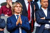 Team manager of Juventus Turin Pavel Nedved attends UEFA U21 European Championship Group A match between Czech Republic and Denmark at Eden Stadium...