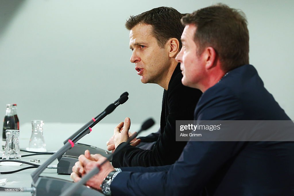 Team manager Oliver Bierhoff and Karlheinz Foerster attend a Germany press conference at Commerzbank-Arena on February 4, 2013 in Frankfurt am Main, Germany.