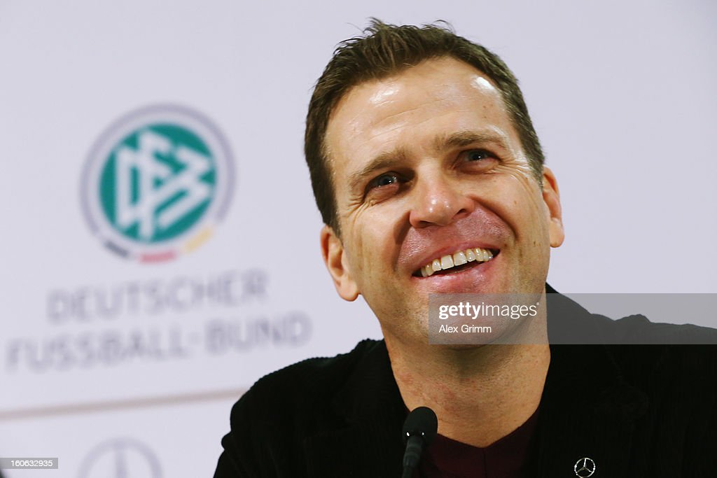 Team manager Oliver Bierhoff attends a Germany press conference at Commerzbank-Arena on February 4, 2013 in Frankfurt am Main, Germany.