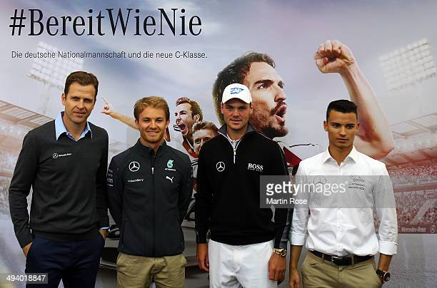 Team manager Oliver Bierhoff Formula 1 driver Nico Rosberg of Germany golf professional Martin Kaymer of Germany and DTM driver Pascal Wehrlein of...