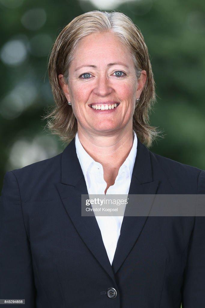 Team manager Renate Lingor poses during the U19 Germany Women's Tem Presentation at Sportschule Wedau on September 10, 2017 in Duisburg, Germany.