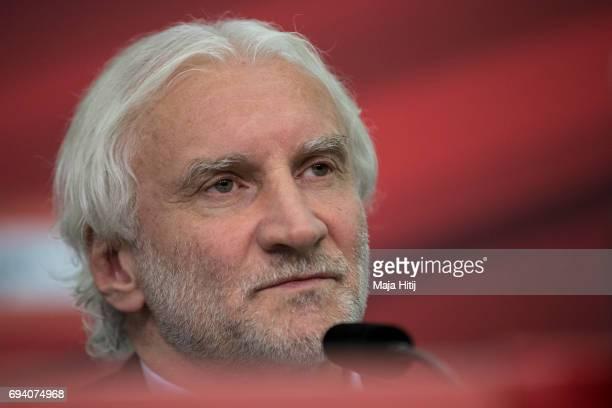 Team manager Rudi Voeller of Bayer Leverkusen speaks during a press conference at BayArena on June 9 2017 in Leverkusen Germany
