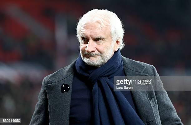 Team manager Rudi Voeller of Leverkusen is seen during the Bundesliga match between Bayer 04 Leverkusen and Borussia Moenchengladbach at BayArena on...