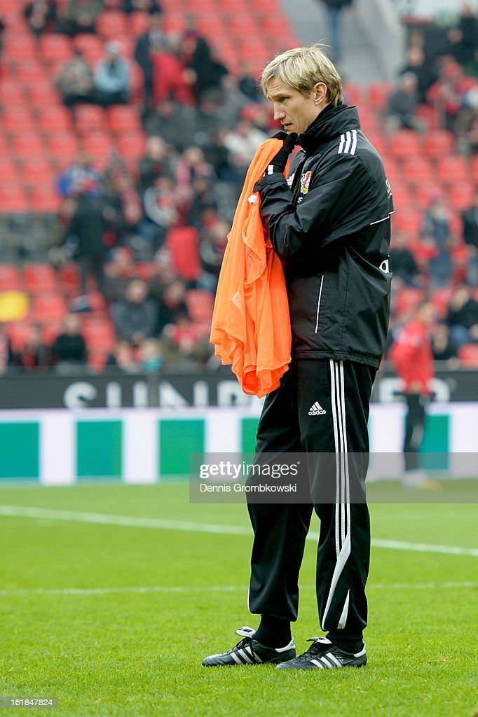 Team manager Sami Hyypia of Leverkusen looks on prior to the Bundesliga match between Bayer 04 Leverkusen and FC Augsburg at BayArena on February 16, 2013 in Leverkusen, Germany.