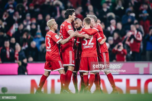 Team martes of Muenchen celebrate a goal during the Bundesliga match between FC Bayern Muenchen and FC Augsburg at Allianz Arena on November 18 2017...