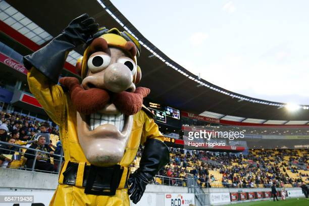 Team mascot Captain Hurricane of the Hurricanes poses during the round four Super Rugby match between the Hurricanes and the Highlanders at Westpac...
