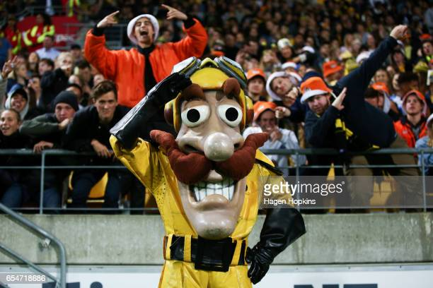 Team mascot Captain Hurricane of the Hurricanes poses with fans during the round four Super Rugby match between the Hurricanes and the Highlanders at...