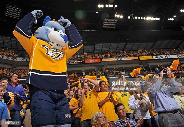 Team mascot Gnash tries to get Nashville Predators fans cheering against the Phoenix Coyotes in Game Four of the Western Conference Semifinals during...