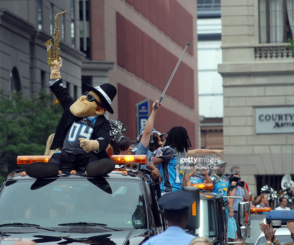 Team mascot Soulman leads the way during a championship parade at City Hall on July 27, 2008 in Philadelphia, Pennsylvania. Bon Jovi and fellow investors celebrate the Philadelphia Soul's victory at ArenaBowl XXII in New Orleans, defeating the San Jose SaberCats for the Arena Bowl championship title.