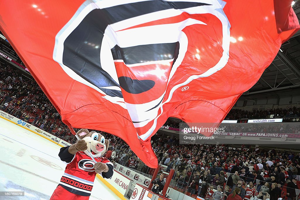 Team mascot Stormy of the Carolina Hurricanes celebrates a victory over the Ottawa Senators during their NHL game at PNC Arena on February 1, 2013 in Raleigh, North Carolina.