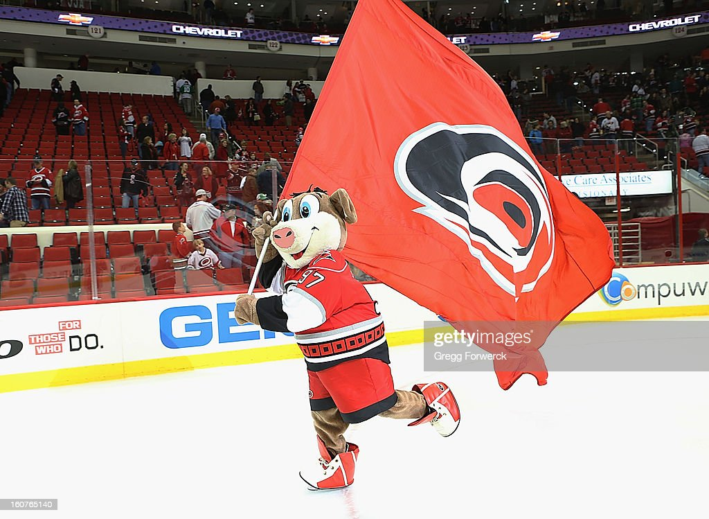Team mascot Stormy of the Carolina Hurricanes celebrates after a Canes victory over the Ottawa Senators during their NHL game at PNC Arena on February 1, 2013 in Raleigh, North Carolina.