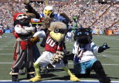 NFL team mascots entertain fans at the 2007 Pro Bowl game at Aloha Stadium on February 10 2007 in Honolulu Hawaii