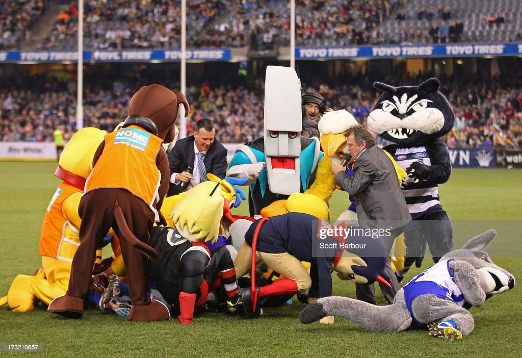 AFL team mascots fight during the EJ Whitten Legends AFL game between Victoria and the All Stars at Etihad Stadium on July 10, 2013 in Melbourne, Australia.