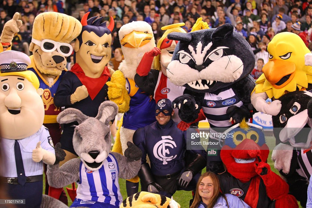 AFL team mascots pose for a photo before the EJ Whitten Legends AFL game between Victoria and the All Stars at Etihad Stadium on July 10, 2013 in Melbourne, Australia.
