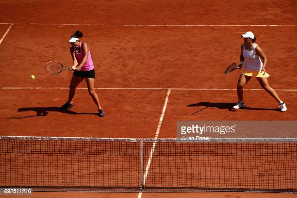 Team mates Casey Dellacqua and Ashleigh Barty of Australia in action during ladies doubles match against Daria Gavrilova of Australia and Anastasia...