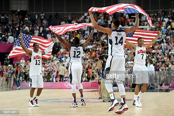 Team mates Chris Paul of the United States James Harden of the United States Anthony Davis of the United States and Russell Westbrook of the United...