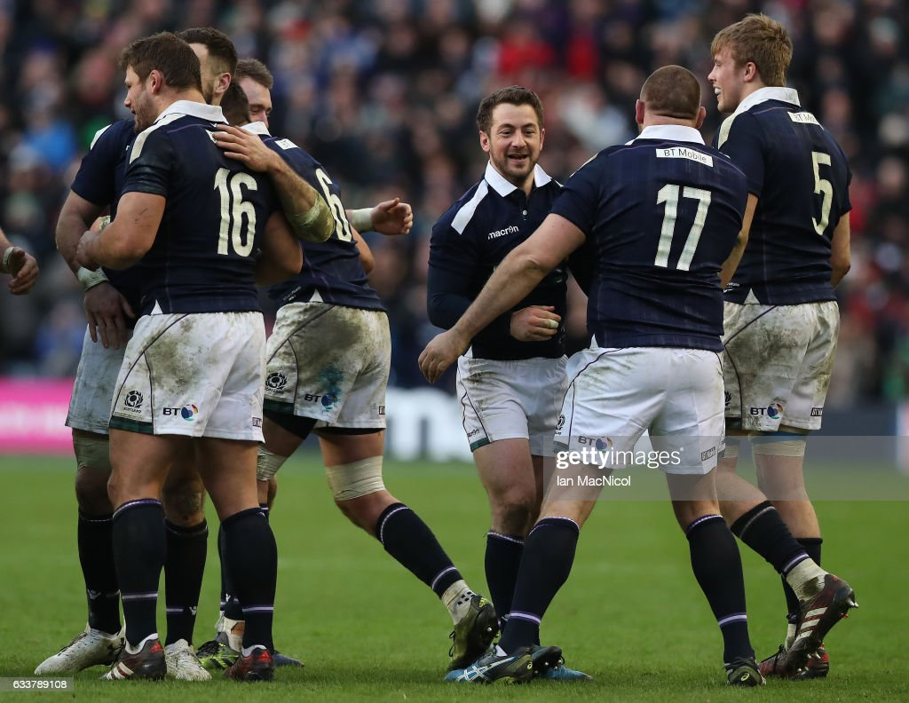 Team mates congratulate Greig Laidlaw of Scotland at full time during the RBS 6 Nations match between Scotland and Ireland at Murrayfield Stadium on February 4, 2017 in Edinburgh, Scotland.