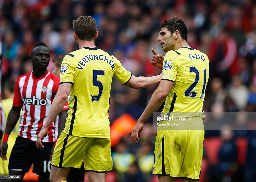 Team mates Jan Vertonghen (5) and Federico Fazio of Spurs (21) argue during the Barclays Premier League match between Southampton and Tottenham Hotspur at St Mary's Stadium on April 25, 2015 in Southampton, England.
