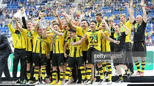 Team mates of Dortmund celebrate after the A Juniors German Championship Final match between 1899 Hoffenheim U19 and Borussia Dortmund U19 at Wirsol...