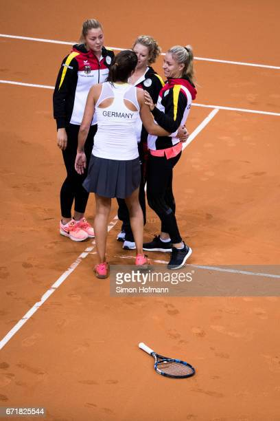 Team mates of Germany celebrate victory during the FedCup World Group PlayOff match between Germany and Ukraine at Porsche Arena on April 23 2017 in...