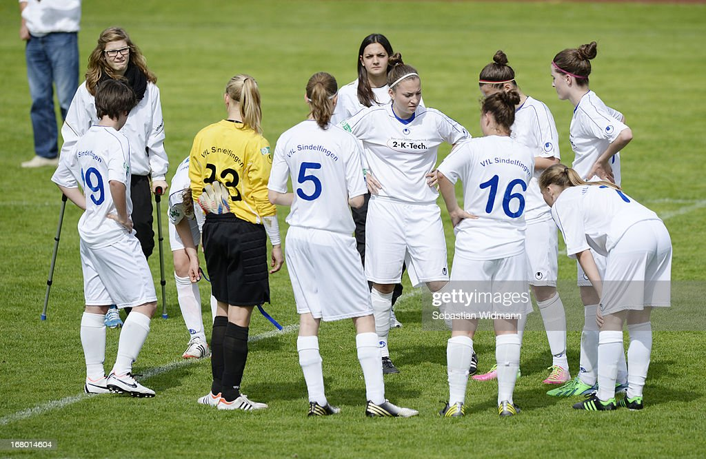Team mates of Sindelfingen stand together after loosing the B Junior Girls match between Bayern Muenchen and VfL Sindelfingen at Sportpark Aschheim on May 4, 2013 in Aschheim, Germany.