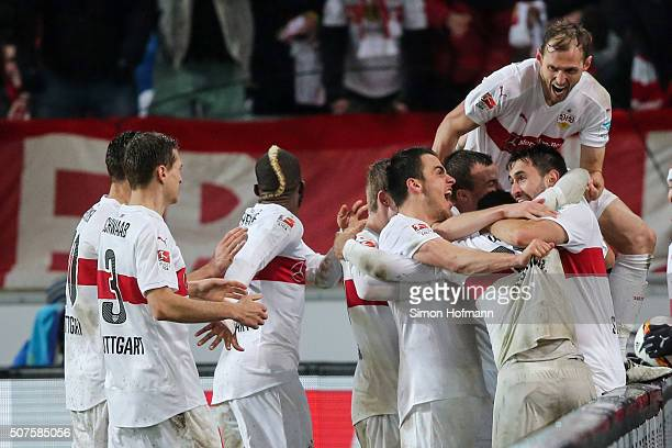 Team mates of Stuttgart celebrate their first goal during the Bundesliga match between VfB Stuttgart and Hamburger SV at MercedesBenz Arena on...