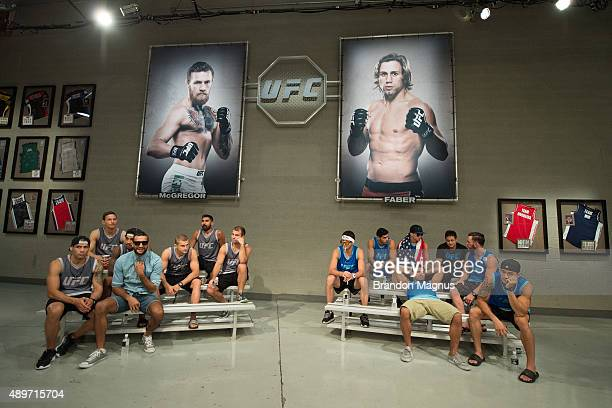 Team McGregor and Team Urijah prepare to watch the fights during the filming of The Ultimate Fighter Team McGregor vs Team Faber at the UFC TUF Gym...