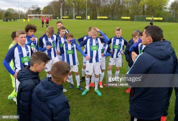 team meeting of Hertha BSC U14 during the Nike Premier Cup 2017 on april 16 2017 in Berlin Germany
