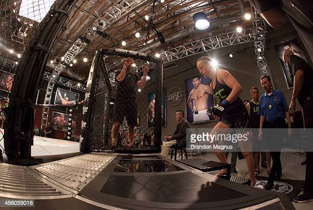 Team Melendez fighter Lisa Ellis prepares to enter the Octagon before facing team Pettis fighter Jessica Penne during filming of season twenty of The...