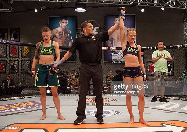 Team Melendez fighter Rose Namajunas celebrates he submission victory over team Pettis fighter Joanne Calderwood in the quarterfinals during filming...