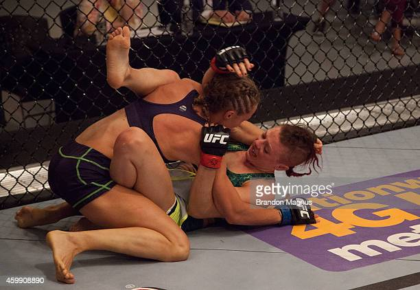 Team Melendez fighter Rose Namajunas controls the body of team Pettis fighter Joanne Calderwood in the quarterfinals during filming of season twenty...