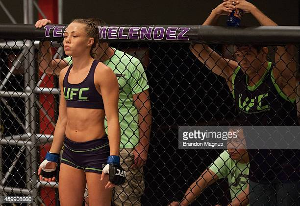 Team Melendez fighter Rose Namajunas enters the Octagon before facing team Pettis fighter Joanne Calderwood in the quarterfinals during filming of...