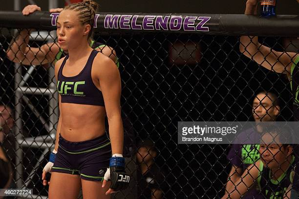Team Melendez fighter Rose Namajunas enters the Octagon before facing team Pettis fighter Randa Markos during filming of season twenty of The...