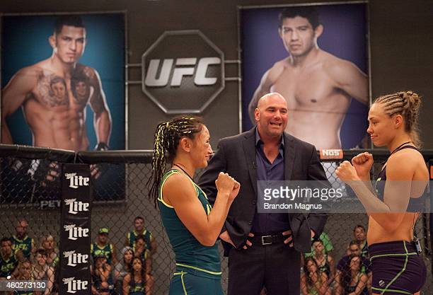 Team Melendez fighter Rose Namajunas faces off against team Pettis fighter Carla Esparza during filming of season twenty of The Ultimate Fighter on...