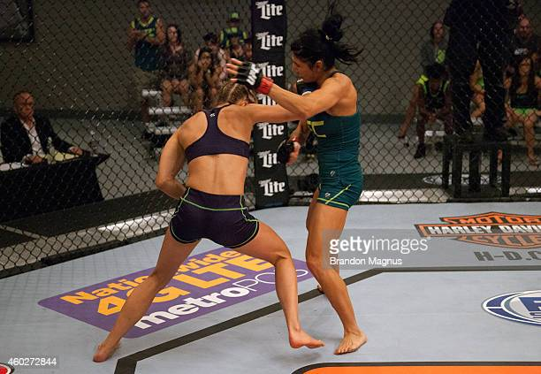 Team Melendez fighter Rose Namajunas punches team Pettis fighter Randa Markos during filming of season twenty of The Ultimate Fighter on August 14...