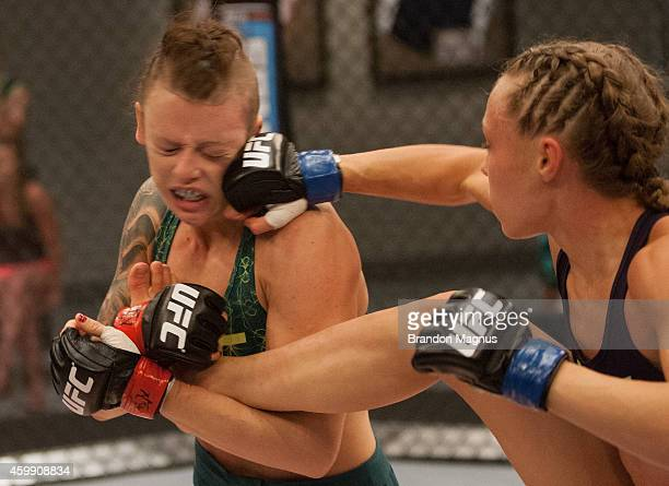 Team Melendez fighter Rose Namajunas punchess team Pettis fighter Joanne Calderwood in the quarterfinals during filming of season twenty of The...