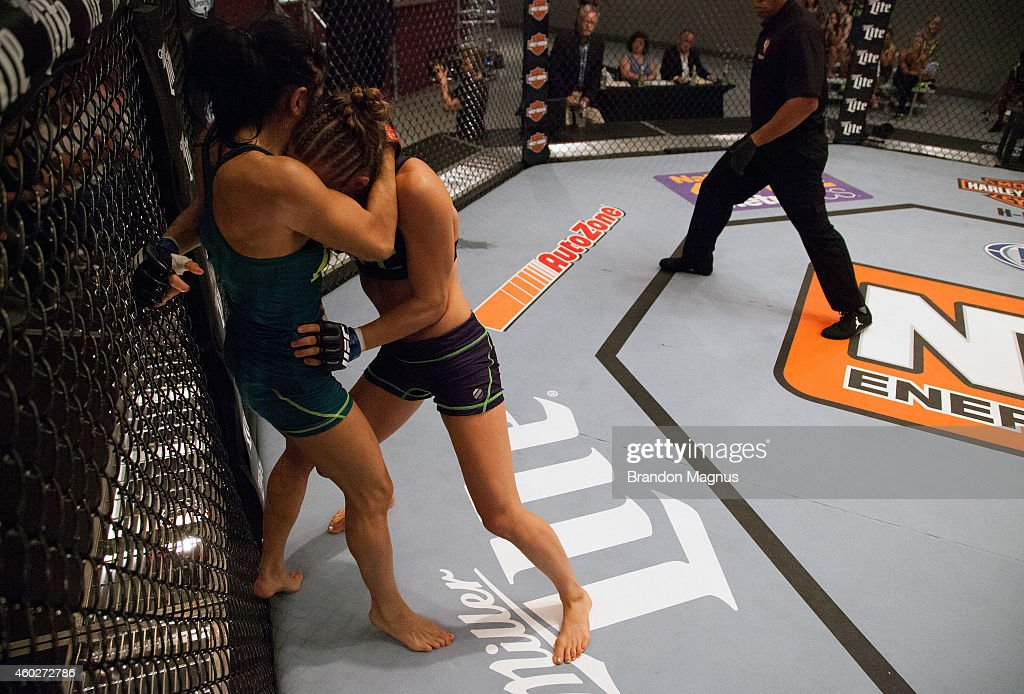 Team Melendez fighter Rose Namajunas pushes team Pettis fighter Randa Markos up against the cage during filming of season twenty of The Ultimate...
