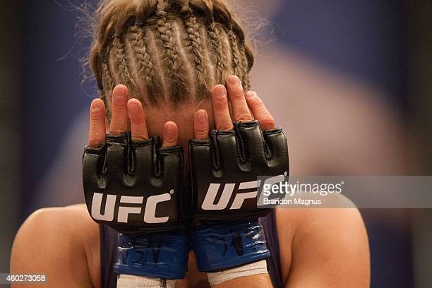 Team Melendez fighter Rose Namajunas reacts after submitting team Pettis fighter Randa Markos during filming of season twenty of The Ultimate Fighter...