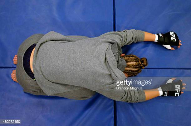 Team Melendez fighter Rose Namajunas warms up before facing team Pettis fighter Randa Markos during filming of season twenty of The Ultimate Fighter...