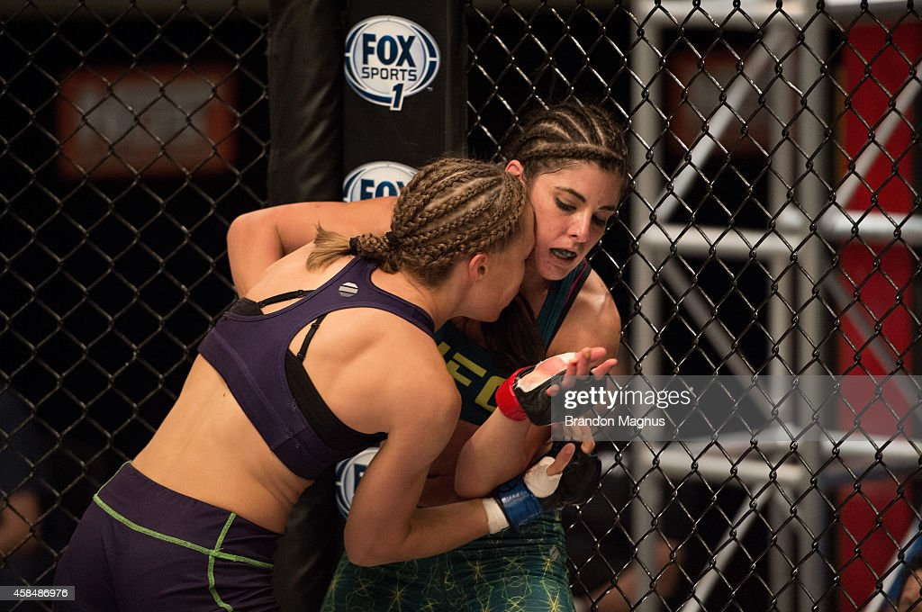 Team Melendez fighter Rose Namjunas pushes team Pettis fighter Alex Chambers up against the cage during filming of season twenty of The Ultimate...