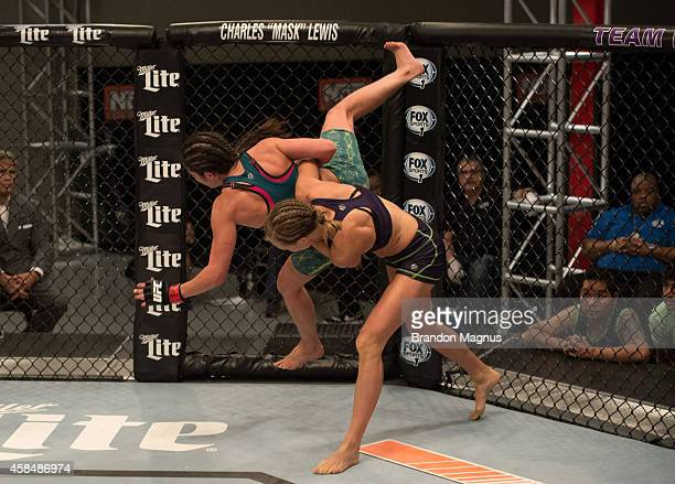 Team Melendez fighter Rose Namjunas takes down team Pettis fighter Alex Chambers during filming of season twenty of The Ultimate Fighter on July 28...
