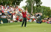 USA team member Fred Couples reacts to making a putt on the 18th hole to win his match against International team member Vijay Singh 1 up during the...